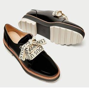 Zara black patent platform loafers 9 40 NWT